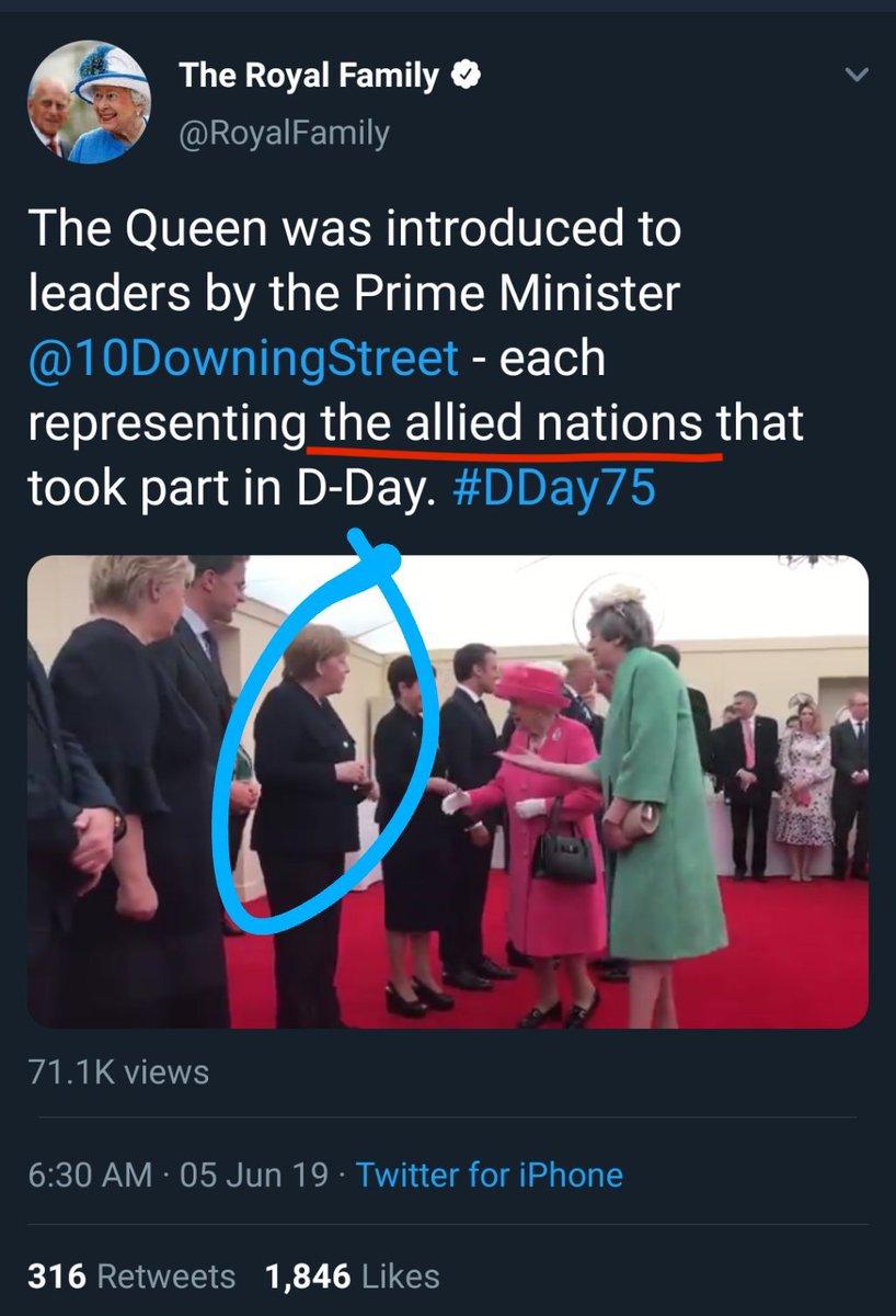 Твиттер брит. королевской семьи сообщил, что королева встречалась с представителями союзных государств участвовавших в D-Day.jpg
